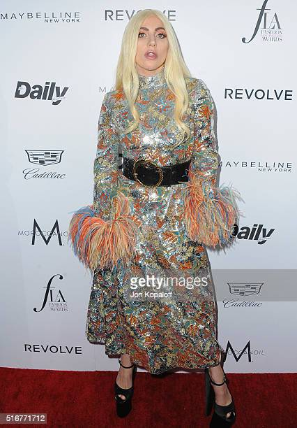 Singer Lady Gaga arrives at The Daily Front Row 'Fashion Los Angeles Awards' 2016 at Sunset Tower Hotel on March 20 2016 in West Hollywood California