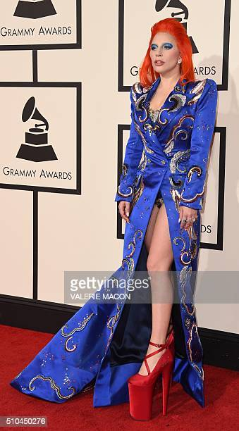 Singer Lady Gaga arrives on the red carpet during the 58th Annual Grammy Music Awards in Los Angeles February 15 2016 AFP PHOTO/ Valerie MACON / AFP...