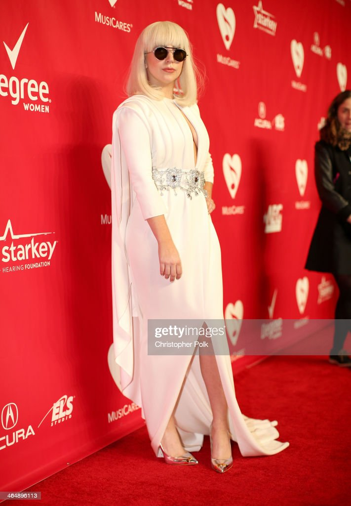 Singer <a gi-track='captionPersonalityLinkClicked' href=/galleries/search?phrase=Lady+Gaga&family=editorial&specificpeople=4456754 ng-click='$event.stopPropagation()'>Lady Gaga</a> attends 2014 MusiCares Person Of The Year Honoring Carole King at Los Angeles Convention Center on January 24, 2014 in Los Angeles, California.