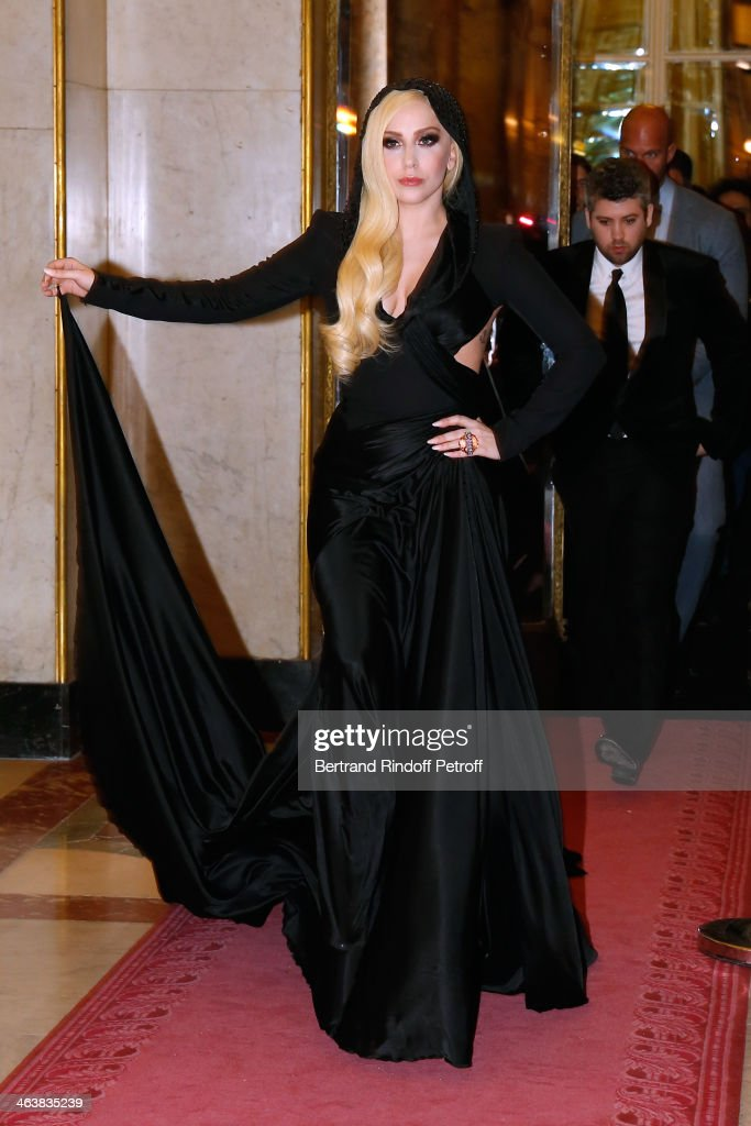 Singer <a gi-track='captionPersonalityLinkClicked' href=/galleries/search?phrase=Lady+Gaga&family=editorial&specificpeople=4456754 ng-click='$event.stopPropagation()'>Lady Gaga</a> attends the Atelier Versace show as part of Paris Fashion Week Haute Couture Spring/Summer 2014 on January 19, 2014 in Paris, France.