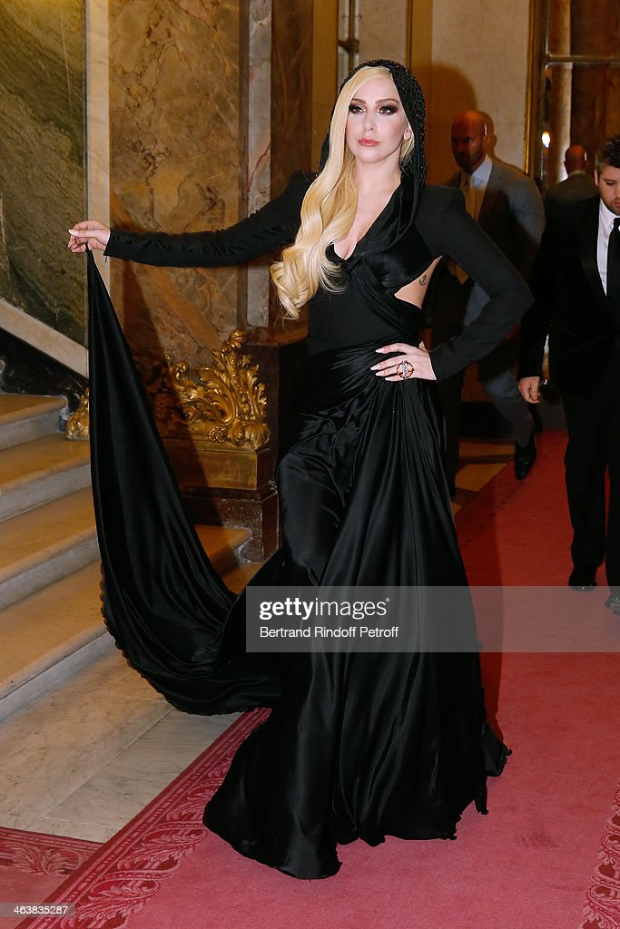 Singer Lady Gaga attends the Atelier Versace show as part of Paris Fashion Week Haute Couture Spring/Summer 2014 on January 19, 2014 in Paris, France.