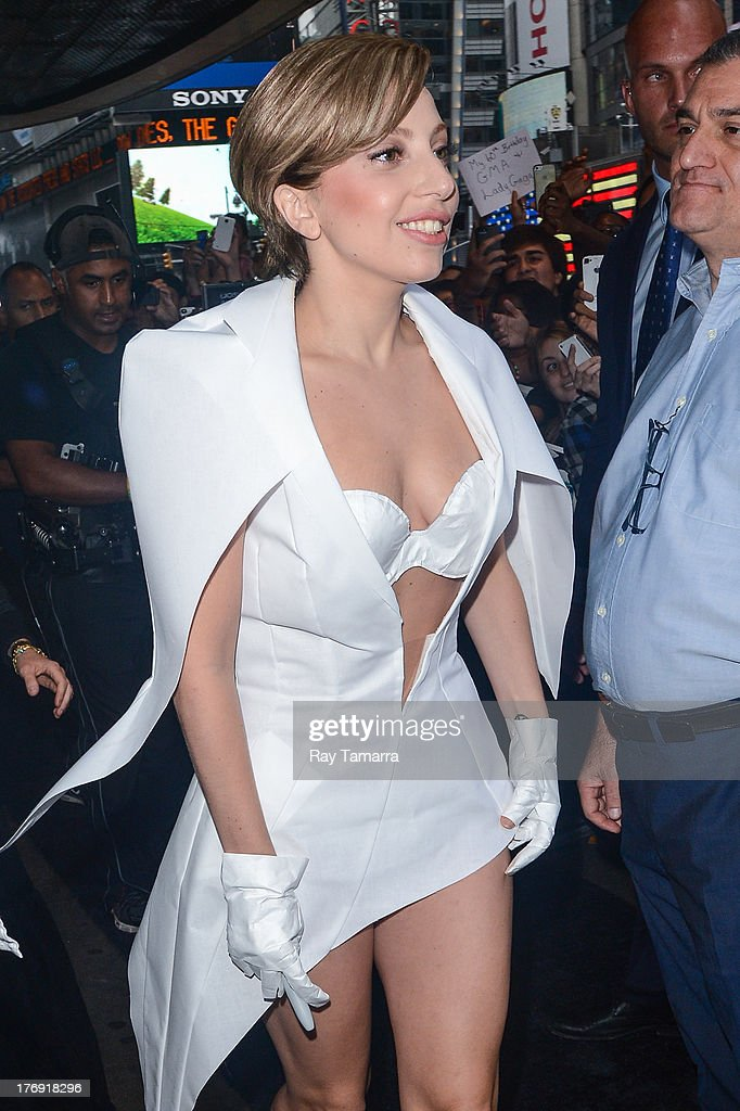 Singer Lady Gaga enters the 'Good Morning America' taping at the ABC Times Square Studios on August 19, 2013 in New York City.