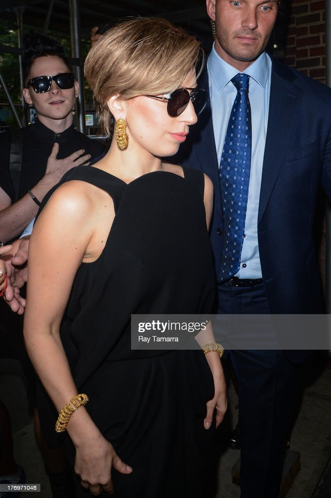 Singer <a gi-track='captionPersonalityLinkClicked' href=/galleries/search?phrase=Lady+Gaga&family=editorial&specificpeople=4456754 ng-click='$event.stopPropagation()'>Lady Gaga</a> enters the Z100 Studios on August 19, 2013 in New York City.