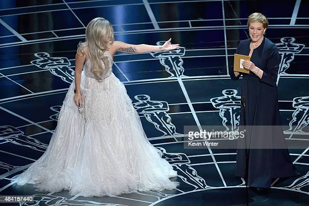 Singer Lady Gaga introduces Julie Andrews onstage during the 87th Annual Academy Awards at Dolby Theatre on February 22 2015 in Hollywood California