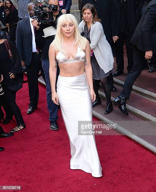 Singer Lady Gaga is seen arriving at Billboard's 10th Annual Women In Music at Cipriani 42nd Street on December 11 2015 in New York City