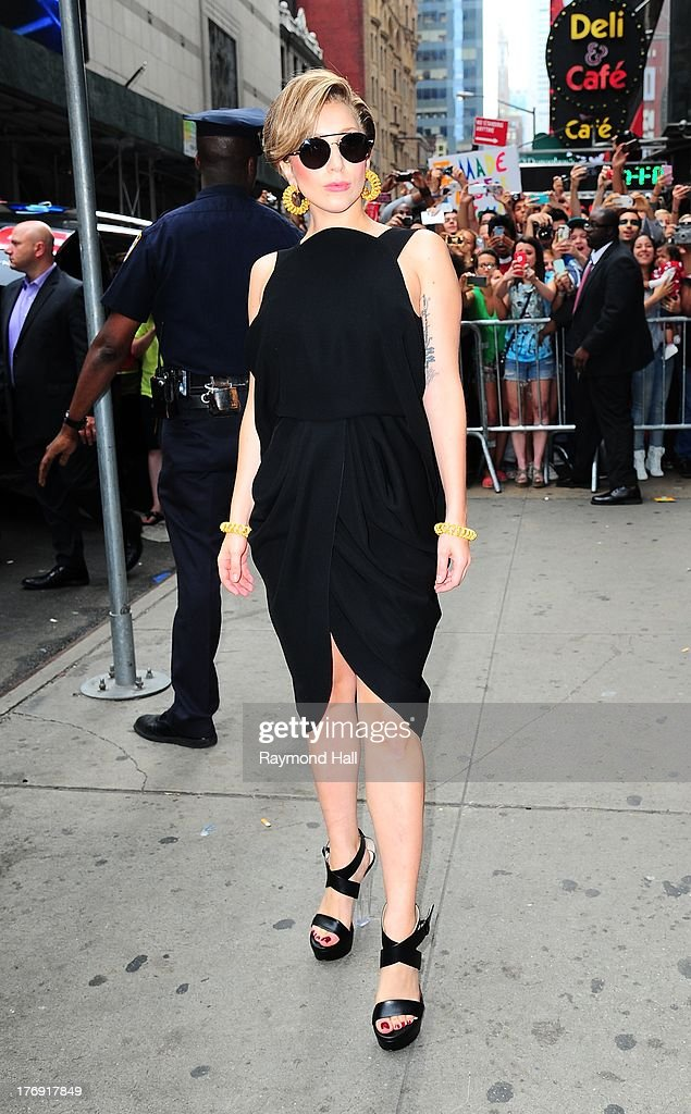 Singer Lady Gaga is seen outside 'Good morning America' on August 19, 2013 in New York City.