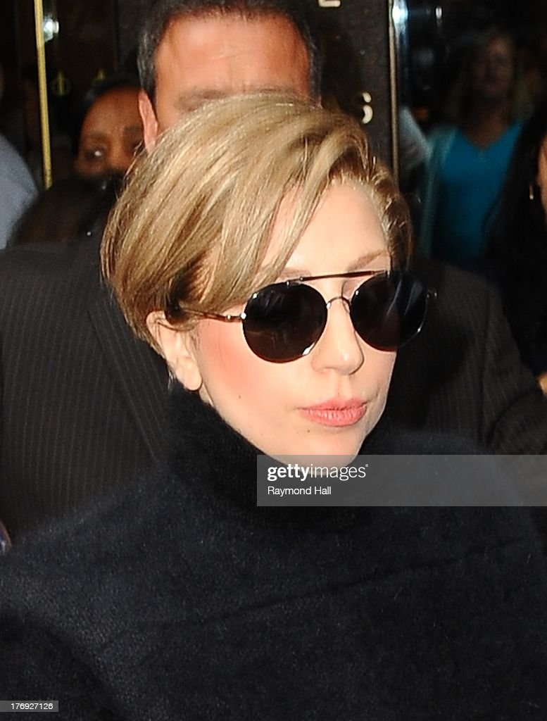 Singer Lady Gaga is seen outside 'Sirius Radio' on August 19, 2013 in New York City.