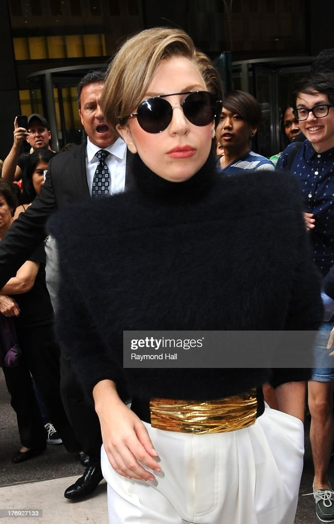 Singer <a gi-track='captionPersonalityLinkClicked' href=/galleries/search?phrase=Lady+Gaga&family=editorial&specificpeople=4456754 ng-click='$event.stopPropagation()'>Lady Gaga</a> is seen outside 'Sirius Radio' on August 19, 2013 in New York City.