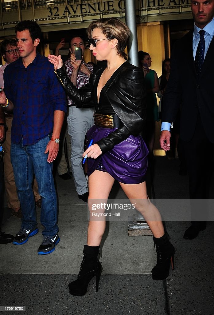 Singer Lady Gaga is seen outside 'Z100'on August 19, 2013 in New York City.