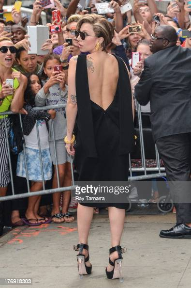 Singer Lady Gaga leaves the 'Good Morning America' taping at the ABC Times Square Studios on August 19 2013 in New York City