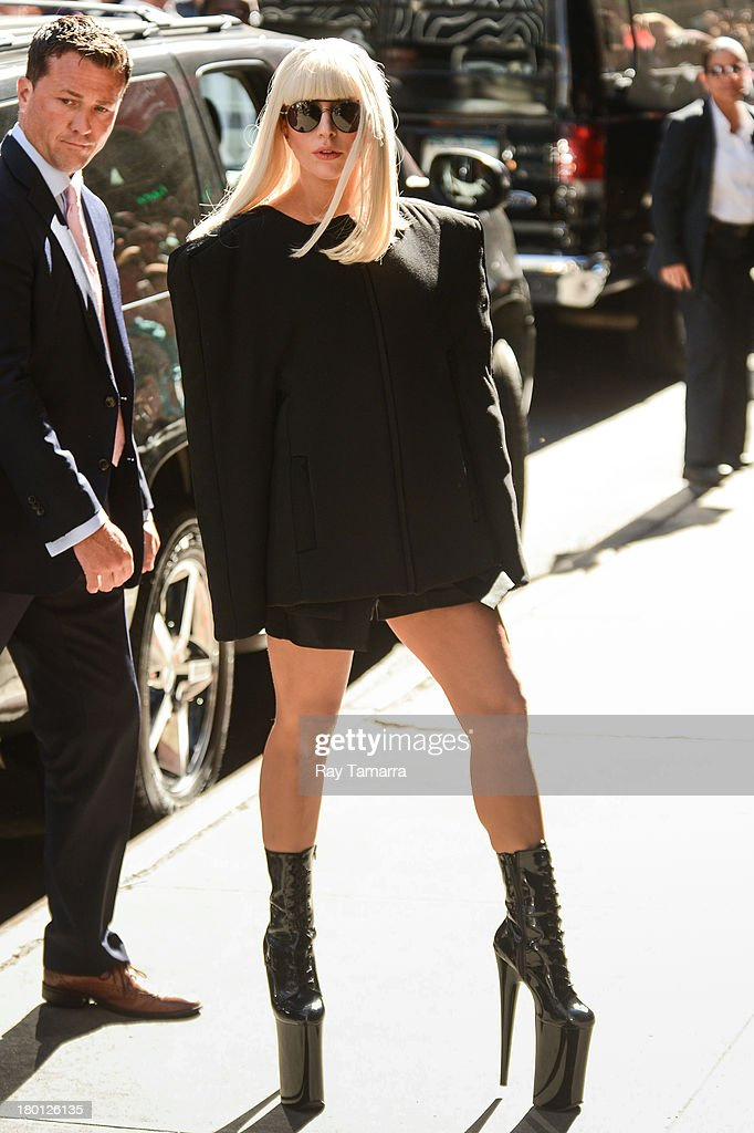 Singer Lady Gaga leaves the 'Good Morning America' taping at the ABC Times Square Studios on September 9, 2013 in New York City.