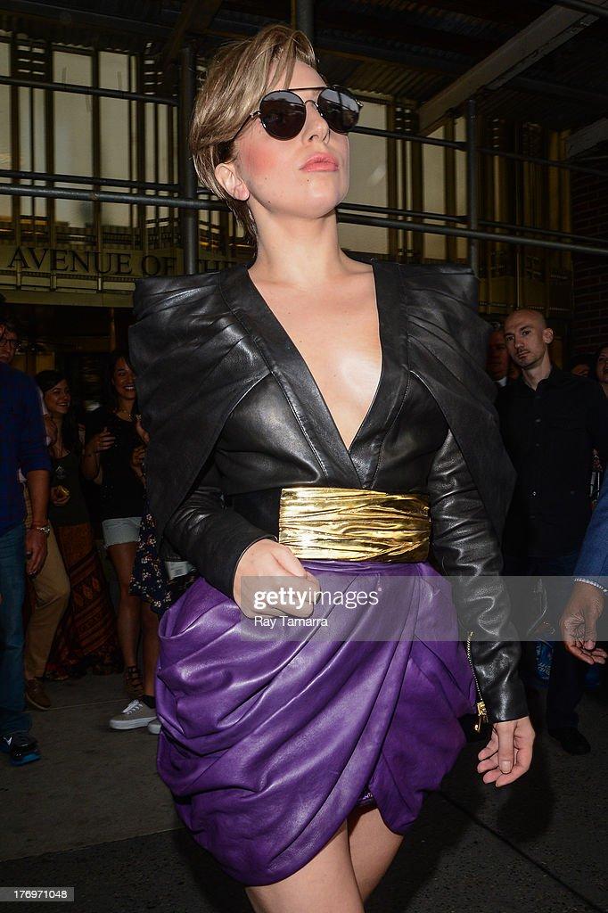 Singer Lady Gaga leaves the Z100 Studios on August 19, 2013 in New York City.