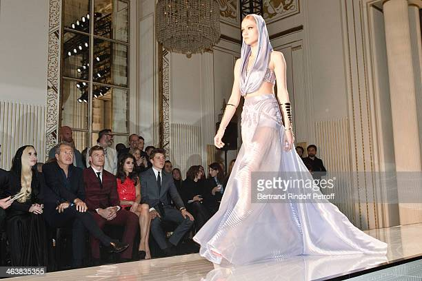 Singer Lady Gaga Mario Testino singer Alan Ritchson Karine Ferri and actor Nolan Gerard Funk attend the Atelier Versace show as part of Paris Fashion...