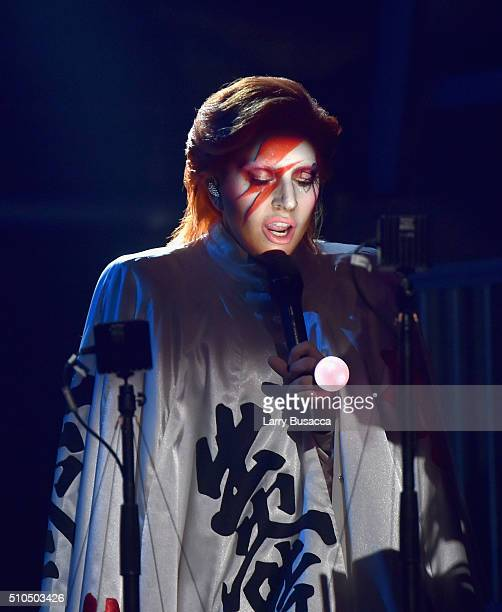 Singer Lady Gaga performs a tribute to the late David Bowie onstage during The 58th GRAMMY Awards at Staples Center on February 15 2016 in Los...