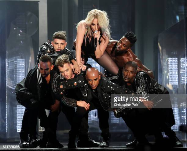 Singer Lady Gaga performs during day 2 of the 2017 Coachella Valley Music Arts Festival at the Empire Polo Club on April 22 2017 in Indio California