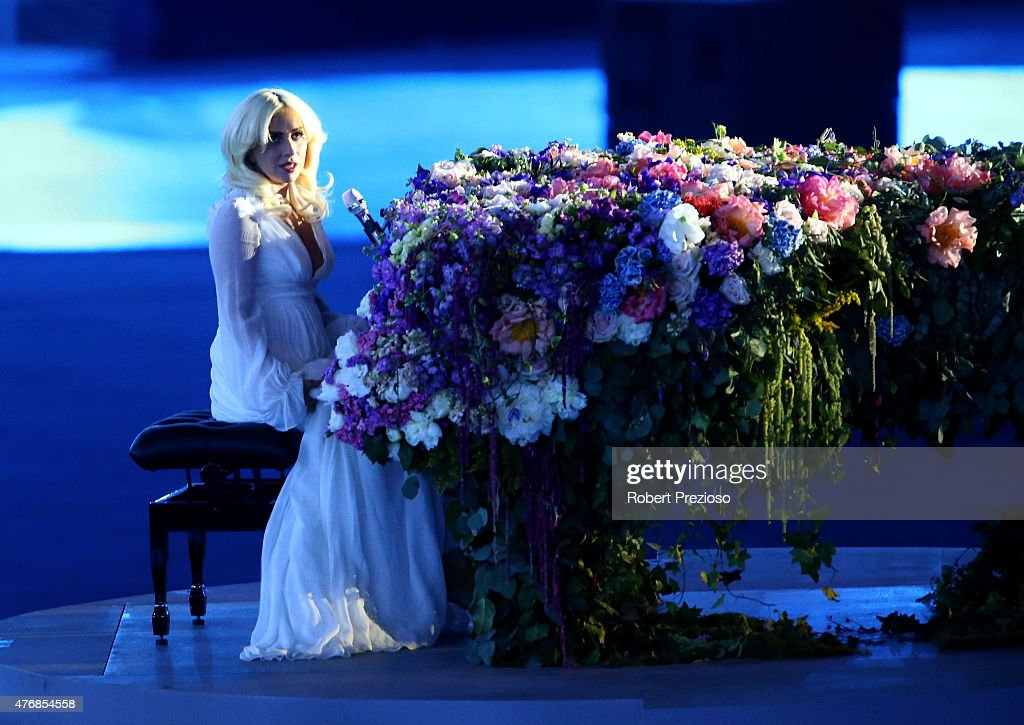 Singer Lady Gaga performs during the Opening Ceremony for the Baku 2015 European Games at the Olympic Stadium on June 12 2015 in Baku Azerbaijan