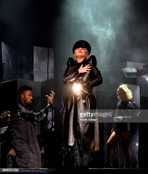 Singer Lady Gaga performs on the Coachella Stage during day 2 of the Coachella Valley Music And Arts Festival at the Empire Polo Club on April 15...