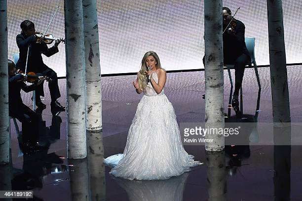 Singer Lady Gaga performs onstage during the 87th Annual Academy Awards at Dolby Theatre on February 22 2015 in Hollywood California