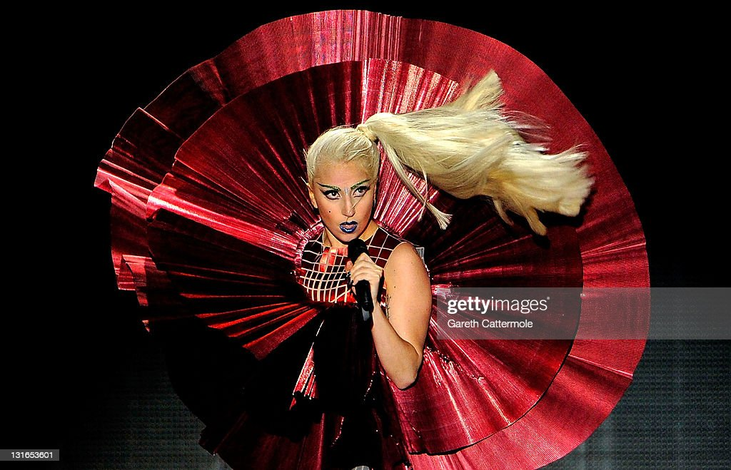 Singer <a gi-track='captionPersonalityLinkClicked' href=/galleries/search?phrase=Lady+Gaga&family=editorial&specificpeople=4456754 ng-click='$event.stopPropagation()'>Lady Gaga</a> performs onstage during the MTV Europe Music Awards 2011 live show at at the Odyssey Arena on November 6, 2011 in Belfast, Northern Ireland.