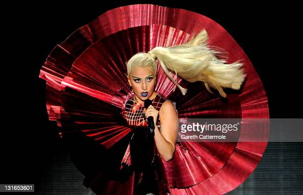 Singer Lady Gaga performs onstage during the MTV Europe Music Awards 2011 live show at at the Odyssey Arena on November 6 2011 in Belfast Northern...