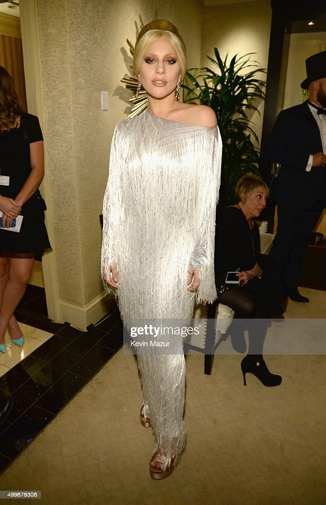 Singer Lady Gaga poses backstage during the 'Sinatra 100 An AllStar GRAMMY Concert' celebrating the late Frank Sinatra's 100th birthday at the Encore...