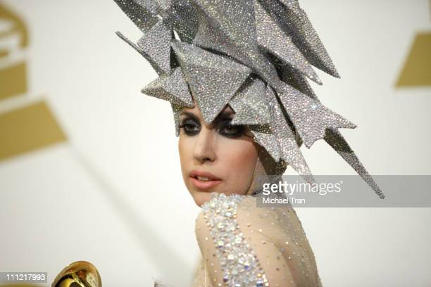 Singer Lady Gaga poses in the press room at the 52nd Annual GRAMMY Awards held at Staples Center on January 31 2010 in Los Angeles California