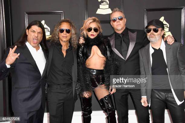Singer Lady Gaga with musicians Robert Trujillo Kirk Hammett James Hetfield and Lars Ulrich of Metallica attend The 59th GRAMMY Awards at STAPLES...