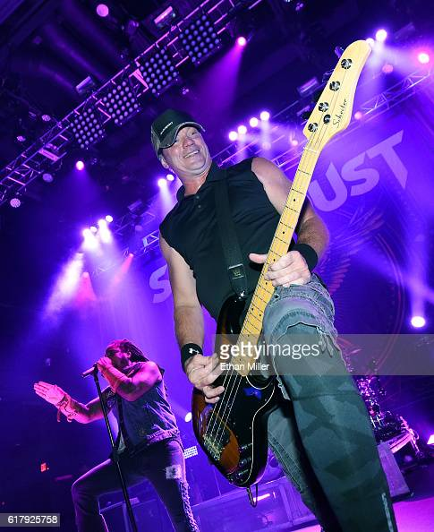 Singer Lajon Witherspoon and bassist Vince Hornsby of Sevendust perform during a stop of the band's Kill the Flaw tour at Brooklyn Bowl Las Vegas at...