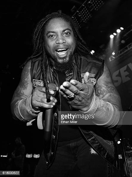 Singer Lajon Witherspoon of Sevendust performs during a stop of the band's Kill the Flaw tour at Brooklyn Bowl Las Vegas at The Linq Promenade on...