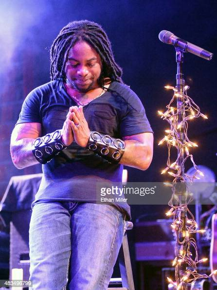 Singer Lajon Witherspoon of Sevendust performs during an acoustic concert at the Marquee Theatre as the band tours in support the upcoming album...