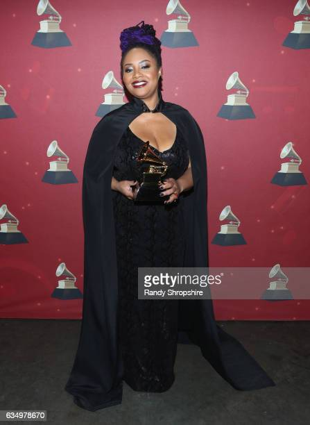 Singer Lalah Hathaway poses with the Best Traditional RB Performance award for 'Angel' backstage at the Premiere Ceremony during the 59th GRAMMY...
