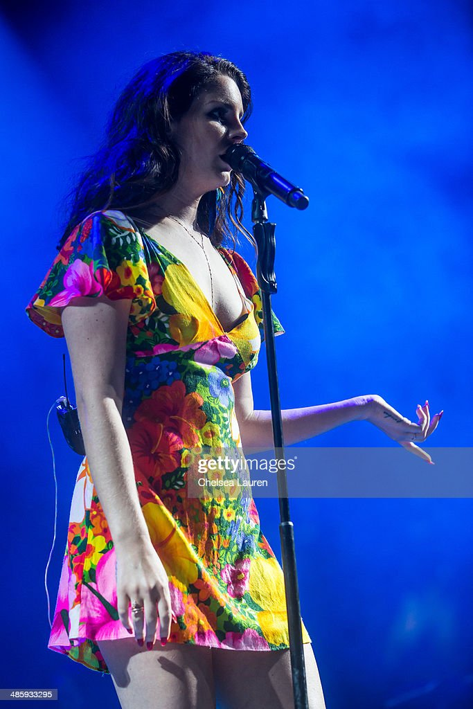 Singer Lana Del Rey performs at the Coachella valley music and arts festival at The Empire Polo Club on April 20, 2014 in Indio, California.
