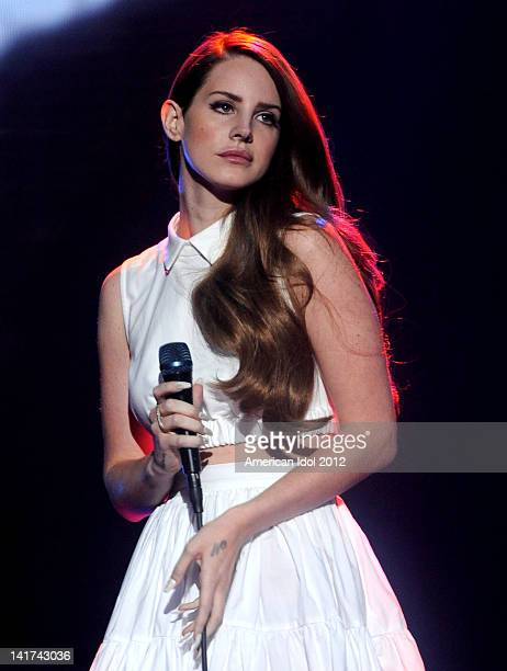 Singer Lana Del Rey performs during a pretape onstage at FOX's 'American Idol' Season 11 Top 10 To 9 Live Elimination Show on March 22 2012 in...