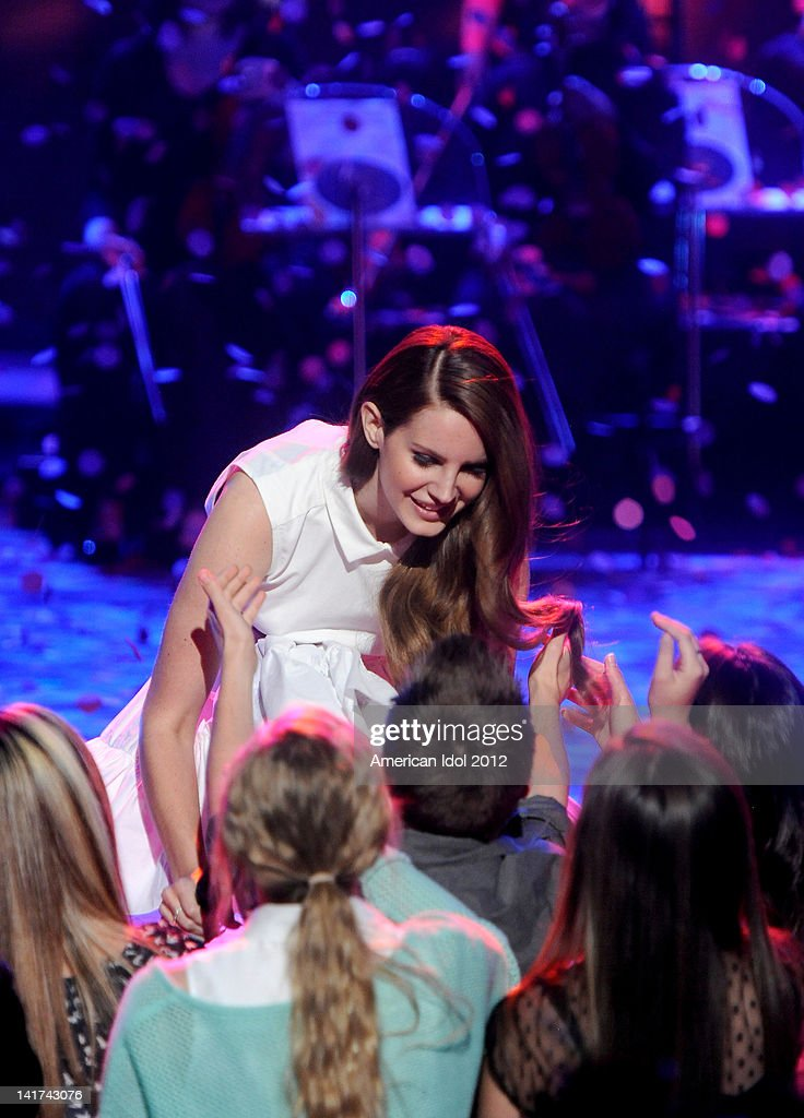 Singer <a gi-track='captionPersonalityLinkClicked' href=/galleries/search?phrase=Lana+Del+Rey&family=editorial&specificpeople=8565478 ng-click='$event.stopPropagation()'>Lana Del Rey</a> performs during a pre-tape onstage at FOX's 'American Idol' Season 11 Top 10 To 9 Live Elimination Show on March 22, 2012 in Hollywood, California.