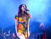 Singer Lana Del Rey performs during the 2014 Coachella Valley Music And Arts Festival at The Empire Polo Club on April 20 2014 in Indio California
