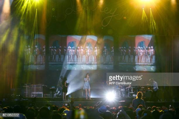 Singer Lana Del Rey performs during the Lollapalooza music festival at the Longchamp Hippodrome in Paris on July 23 2017 / AFP PHOTO / GEOFFROY VAN...