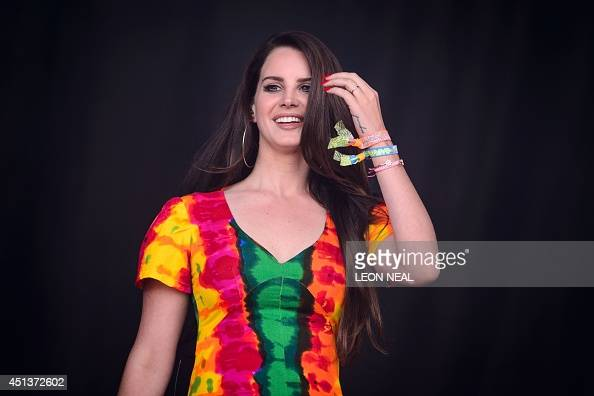 US singer Lana Del Rey performs on the Pyramid Stage on the second day of the Glastonbury Festival of Music and Performing Arts in Somerset southwest...