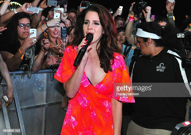Singer Lana Del Rey performs onstage during day 3 of the 2014 Coachella Valley Music Arts Festival at the Empire Polo Club on April 13 2014 in Indio...