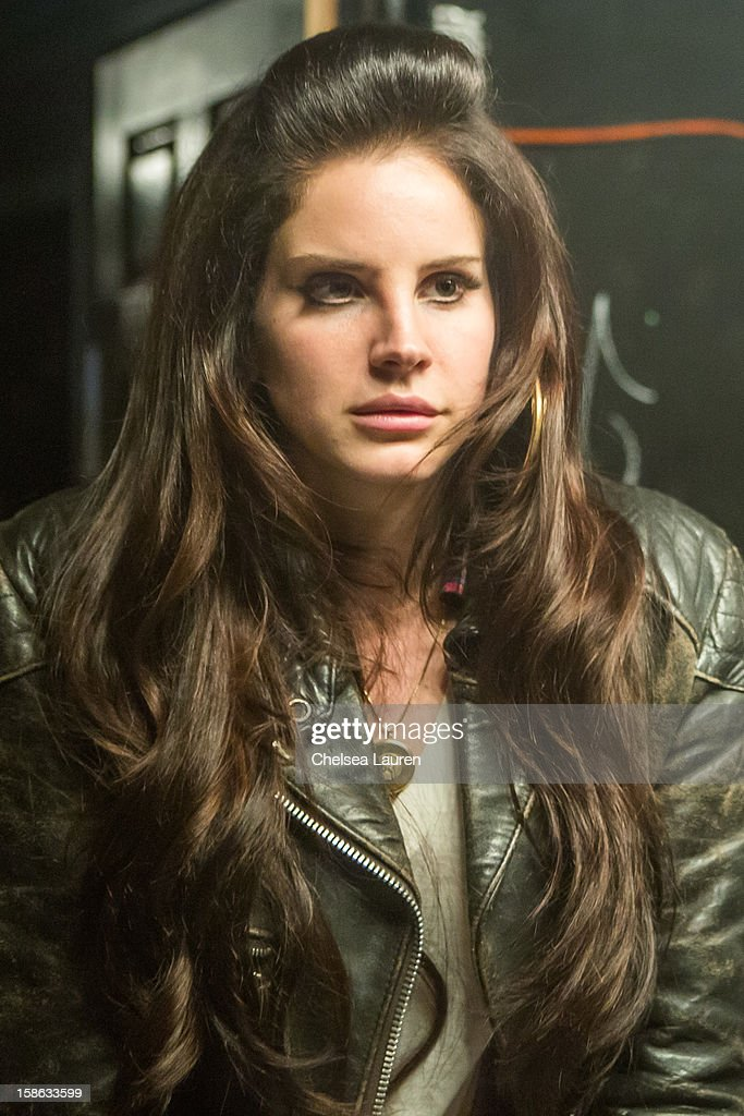 Singer <a gi-track='captionPersonalityLinkClicked' href=/galleries/search?phrase=Lana+Del+Rey&family=editorial&specificpeople=8565478 ng-click='$event.stopPropagation()'>Lana Del Rey</a> poses backstage at Camp Freddy's holiday residency at The Roxy Theatre on December 21, 2012 in West Hollywood, California.