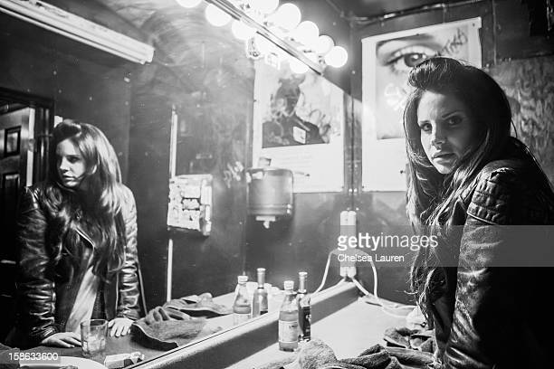 Singer Lana Del Rey poses backstage at Camp Freddy's holiday residency at The Roxy Theatre on December 21 2012 in West Hollywood California