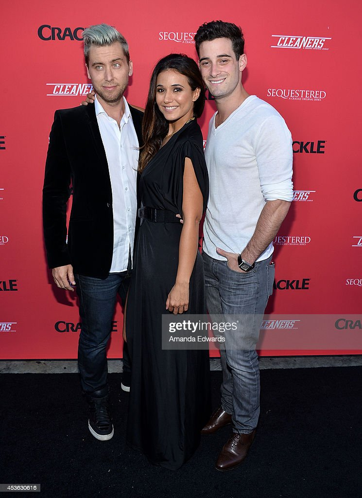 Singer <a gi-track='captionPersonalityLinkClicked' href=/galleries/search?phrase=Lance+Bass&family=editorial&specificpeople=210566 ng-click='$event.stopPropagation()'>Lance Bass</a>, actress <a gi-track='captionPersonalityLinkClicked' href=/galleries/search?phrase=Emmanuelle+Chriqui&family=editorial&specificpeople=541098 ng-click='$event.stopPropagation()'>Emmanuelle Chriqui</a> and actor <a gi-track='captionPersonalityLinkClicked' href=/galleries/search?phrase=Michael+Turchin&family=editorial&specificpeople=7817442 ng-click='$event.stopPropagation()'>Michael Turchin</a> arrive at the Crackle Original Series' 'Cleaners' and 'Sequestered' summer premiere celebration at 1 OAK on August 14, 2014 in West Hollywood, California.