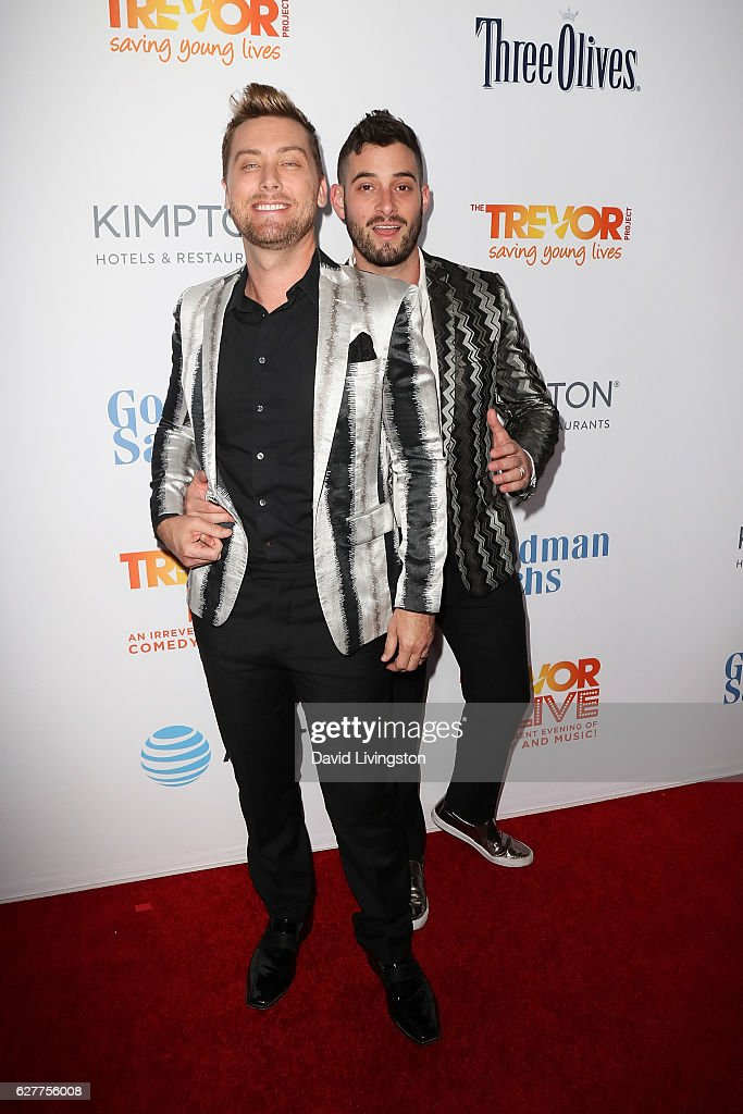 Singer Lance Bass and Michael Turchin arrive at the TrevorLIVE Los Angeles 2016 Fundraiser at The Beverly Hilton Hotel on December 4, 2016 in Beverly Hills, California.