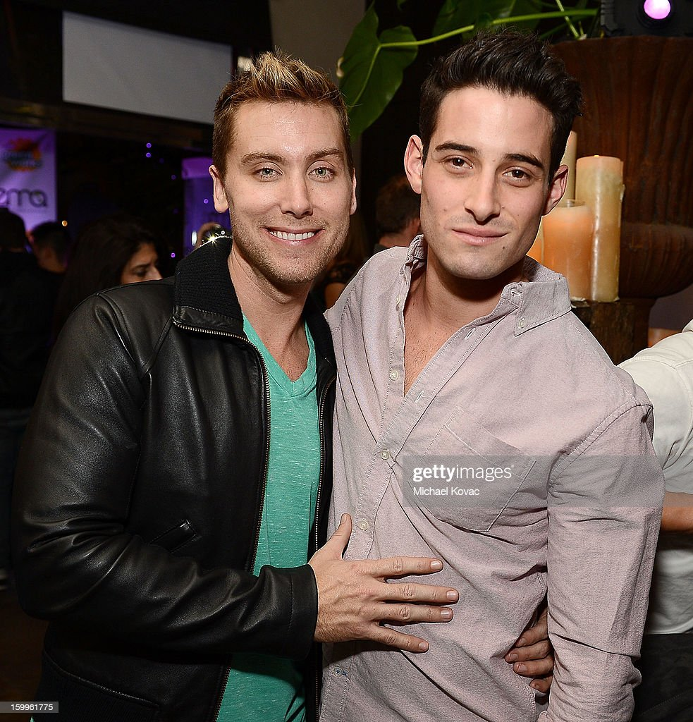 Singer <a gi-track='captionPersonalityLinkClicked' href=/galleries/search?phrase=Lance+Bass&family=editorial&specificpeople=210566 ng-click='$event.stopPropagation()'>Lance Bass</a> (L) and Michael Turchin attend Celebrities and the EMA Help Green Works Launch New Campaign at Sur Restaurant on January 23, 2013 in Los Angeles, California.