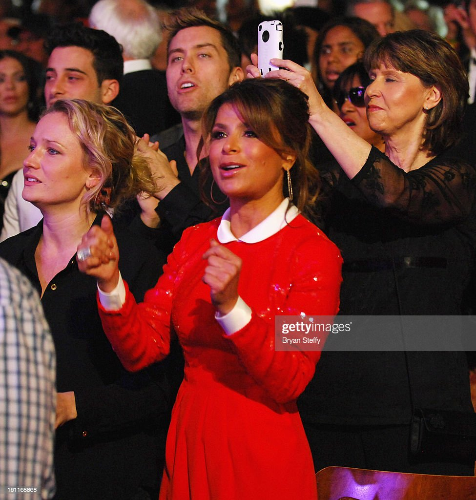 Singer Lance Bass (L) and television personality/singer Paula Abdul appear at the HSN Live Michael Bolton concert at The Venetian Resort Hotel Casino on February 8, 2013 in Las Vegas, Nevada.