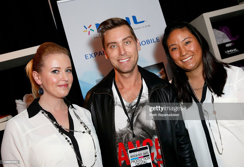 Singer <a gi-track='captionPersonalityLinkClicked' href=/galleries/search?phrase=Lance+Bass&family=editorial&specificpeople=210566 ng-click='$event.stopPropagation()'>Lance Bass</a> (C) attends The Official AMA Artist Gift Lounge presented by LPB Group at Nokia Theatre L.A. Live on November 17, 2012 in Los Angeles, California.