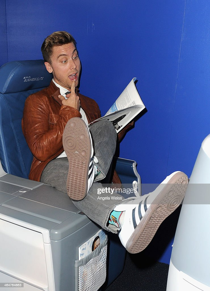 Singer <a gi-track='captionPersonalityLinkClicked' href=/galleries/search?phrase=Lance+Bass&family=editorial&specificpeople=210566 ng-click='$event.stopPropagation()'>Lance Bass</a> joins Delta Air Lines in toasting 2014 GRAMMY Weekend with private reception and performance from Lorde, four-time 2014 GRAMMY award nominee in West Hollywood, CA on January 23rd 2014