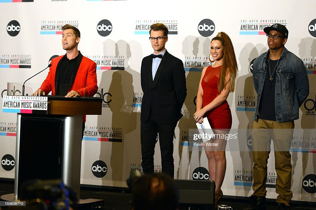Singer Lance Bass, stylist Brad Goreski, singer Kimberly Cole, and actor Tristan Wilds speak onstage during the 40th Anniversary American Music Awards nominations press conference at the JW Marriott Los Angeles at L.A. LIVE on October 9, 2012 in Los Angeles, California.