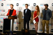 Singer Lance Bass stylist Brad Goreski singer Kimberly Cole and actor Tristan Wilds speak onstage during the 40th Anniversary American Music Awards...