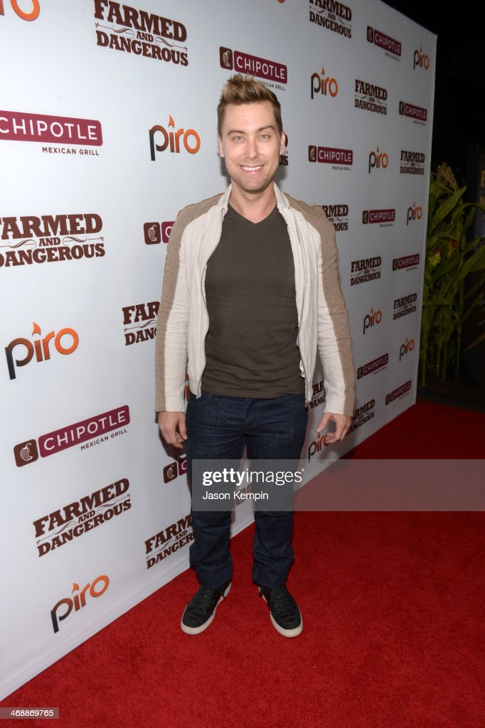 Singer Lance Bass walks the red carpet at the world premiere of 'Farmed and Dangerous,' a Chipotle/Piro production at DGA Theater on February 11, 2014 in Los Angeles, California.