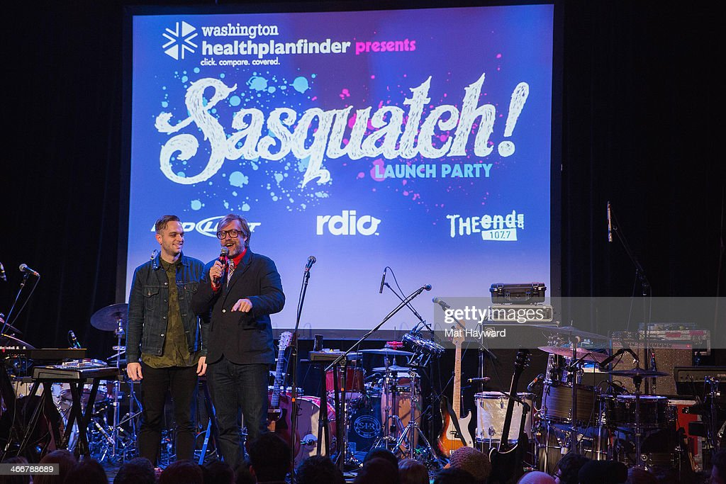 Singer Landon Jacobs of Sir Sly and John Roderick speak on stage during the Sasquatch Launch Party at Neptune Theatre on February 3, 2014 in Seattle, Washington.
